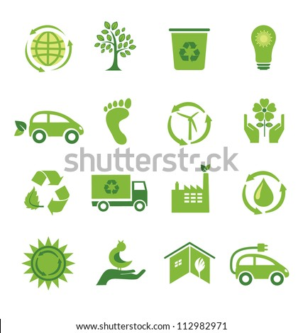 Set of 16 green ecology icons - stock vector