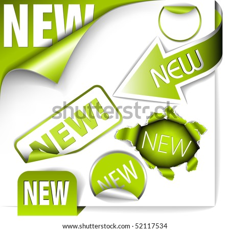Set of green elements for new items in eshop or on the web page - stock vector
