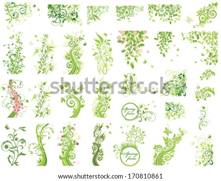 Set of green floral design elements - stock vector