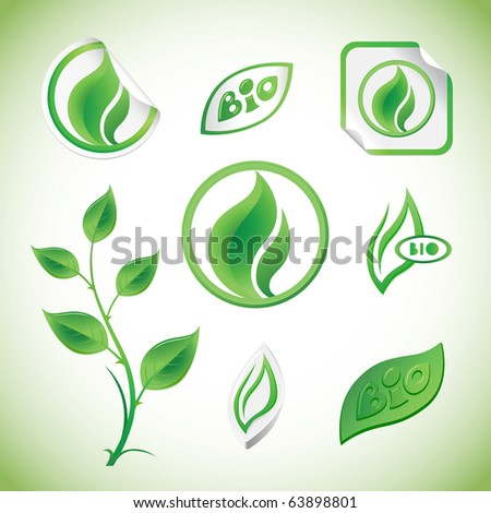 Set Of Green Floral Elements, Tags And Stickers - stock vector