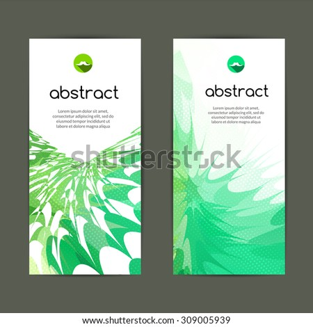 Set of green geometric colorful banners for modern design and business