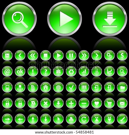 Set of green glossy icons on black background - stock vector