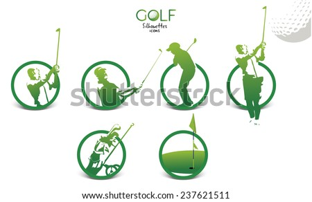 Set of green golf silhouettes icons, illustration isolated on white background - stock vector