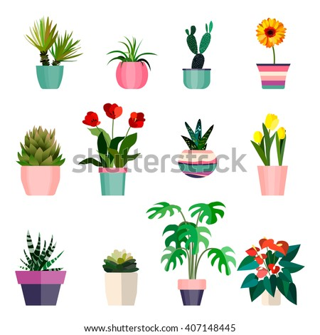 set of green house plants in pots leaf and flowers pot flower pot icon