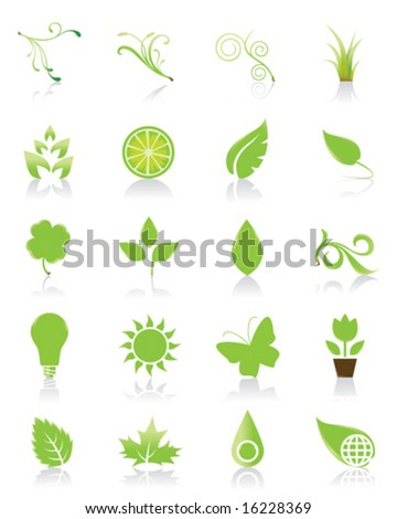 Set of 20 green icons - stock vector