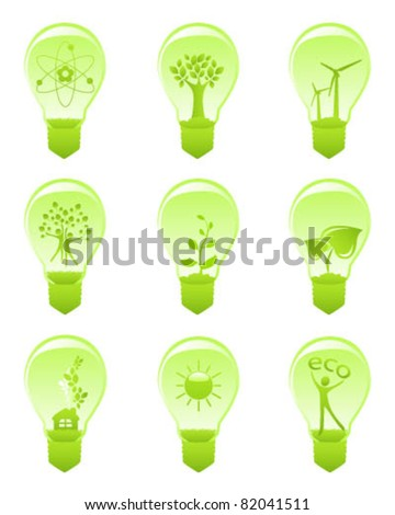 Set of green icons - concept of ecology - stock vector