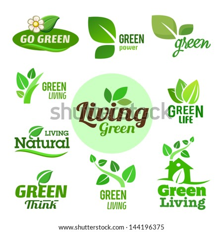 Set of green icons on the white background. - stock vector