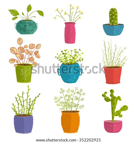 Set of green indoor plants in pots. Leaf and house gardening, flowerpot and flora isolated objects, houseplant design collection vector illustration - stock vector