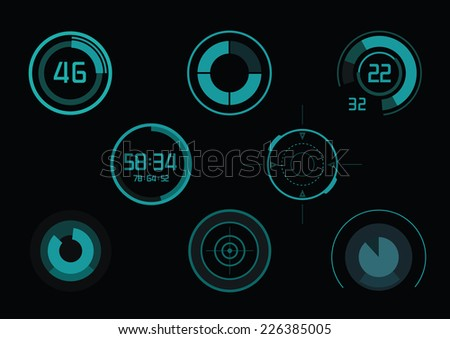 Set of green infographics as head-up display - stock vector