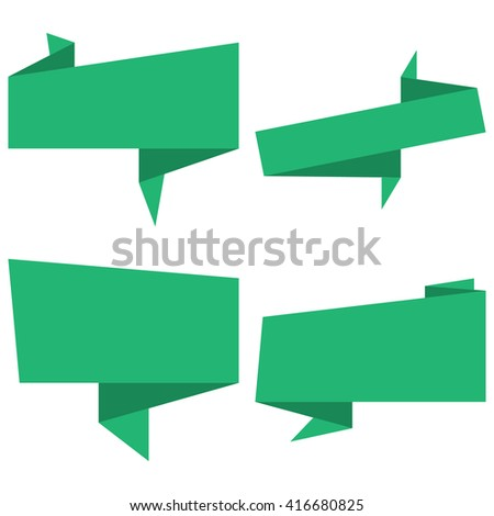 Set of green isolated origami banners on white background.