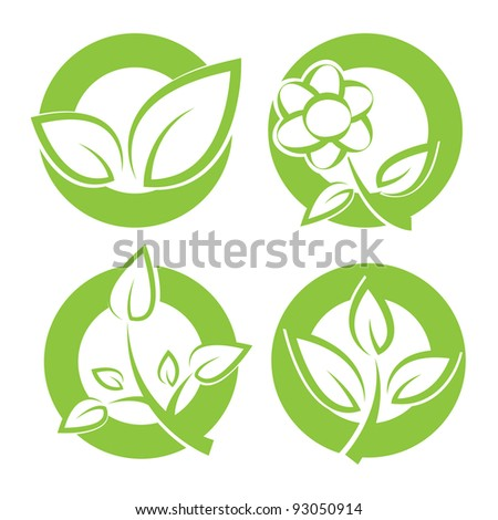 Set of green leaves round stickers. Vector illustration. - stock vector