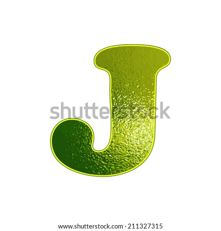 Set of green letters with the effect of glowing glass. Vector illustration.