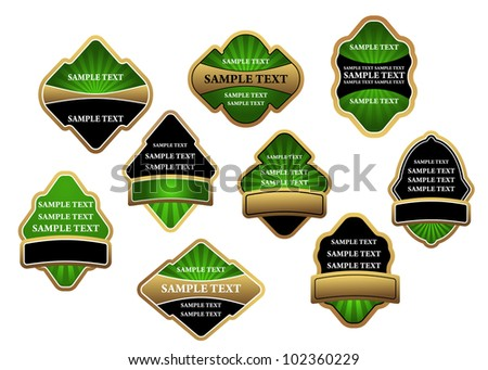 Set of green luxury labels and banners with gold frames, such logo. Jpeg version also available in gallery - stock vector
