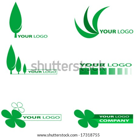 Set of green nature or ecology logos.Vector. - stock vector