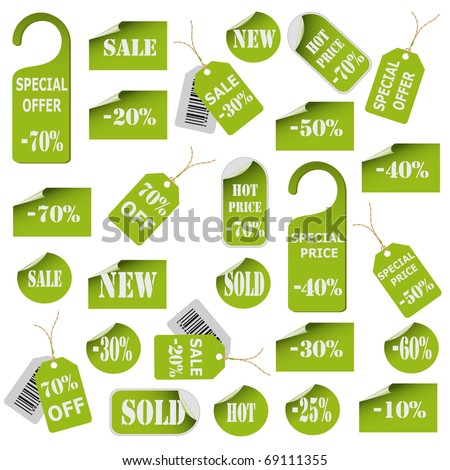 Set of green price tags and labels. Vector eps10 illustration - stock vector