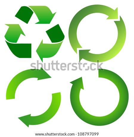 Set of green recycle arrow on white - stock vector