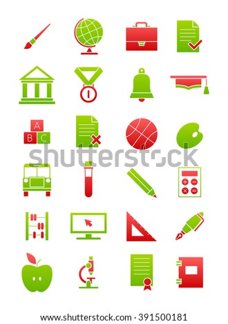 Set of 24 green-red school icons