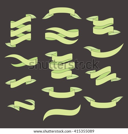 Set of green ribbons with leafs shape for your text. Spring and summer design. Suitable for advertising, sale and promotion. Dark background. Ribbon banners vector illustration. - stock vector