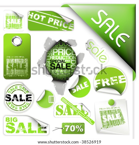 Set of green sale tickets, labels, stamps, stickers, corners, tags - stock vector