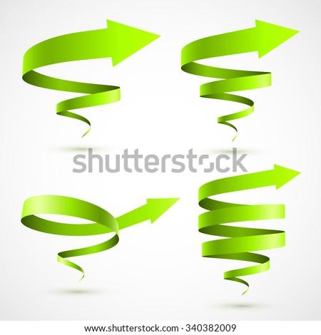 Set of green spiral arrows 3D. - stock vector