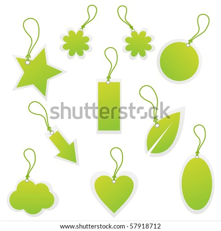 set of 10 green tags