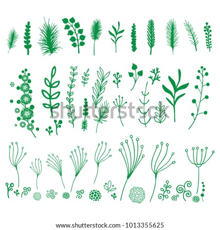 Set of green vector decorative elements on white background