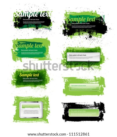 Set of 8 green vector hand painted grungy banners / badges - stock vector