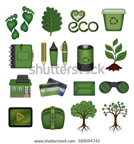 Set of green vector icons - stock vector