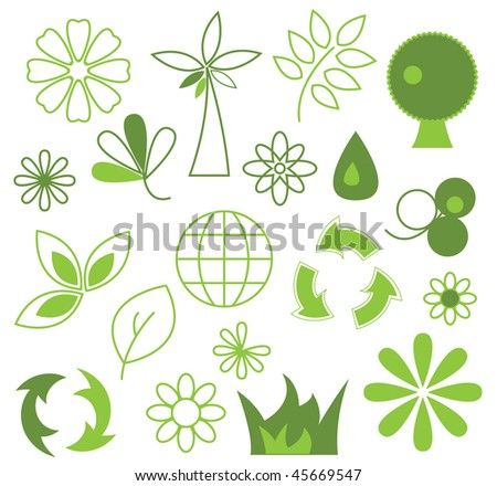 Set of green vector icons - eco conception - stock vector