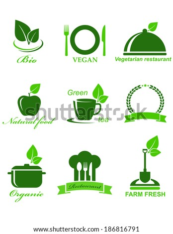 set of green vegetarian food icons on white background - stock vector