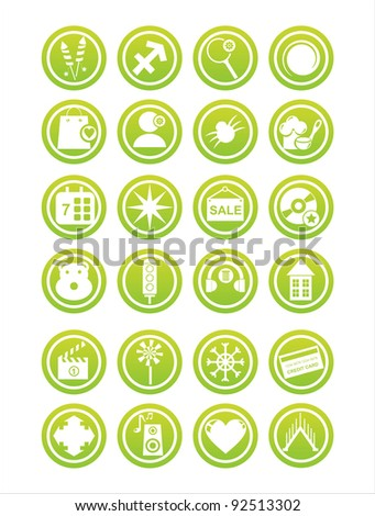 set of 21 green web signs