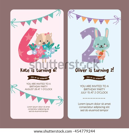 Set greeting card design cute cat stock vector 454779244 shutterstock set of greeting card design with cute cat and rabbit happy birthday invitation template for filmwisefo
