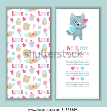 Set greeting cards valentines day template stock vector royalty set of greeting cards for valentines day template of greeting card with kitten and different m4hsunfo