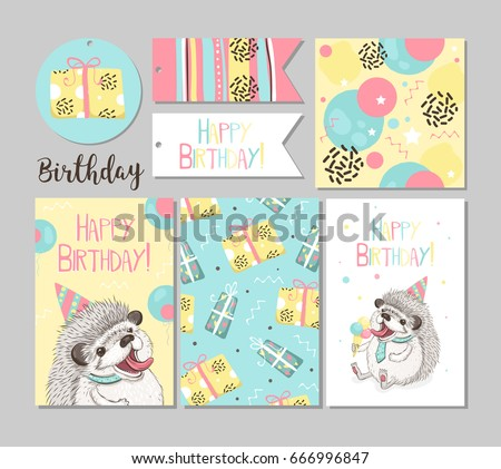 Set Greeting Cards Happy Birthday Funny Vector 666996847 – Greeting Cards Birthday Funny