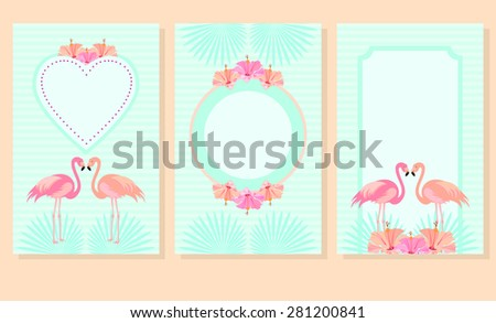 Set of greeting cards, invitations, postcards, menus with pink flamingos and hibiscus flowers. Vector. - stock vector