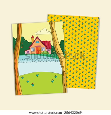 set of greeting cards to the cottage on the lake. Templates of forms to advertise real estate. protection of the environment. Invitation card with newcomers.  The Lake House is painted by hand - stock vector