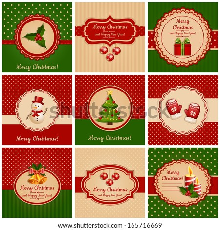 Set of greeting cards with traditional symbols of Christmas and New Year. Vector illustration. - stock vector