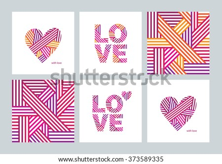 Set of greeting cards with Valentine's Day, Mother's Day, International Women's Day, birthday, wedding. Abstract hearts. Abstract seamless pattern. Love. Postcard. Congratulation. Vector.