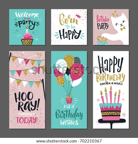 Set greetings cards invitation birthday party stock vector 702210367 invitation for birthday party vector design template with hand writings stopboris Images