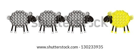 Set of grey and yellow cute lambs with black heads and wool spirals - stock vector