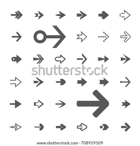 Set of grey arrows. Vector Icons.
