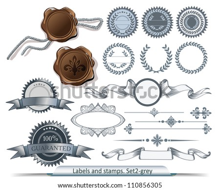 Set of grey labels and stamps - stock vector