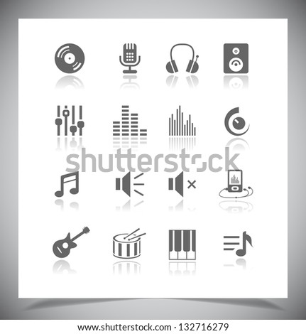 Set of grey music Icons. Vector illustration - stock vector