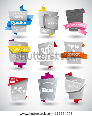 Set of grey paper labels with colored parts.  - stock vector