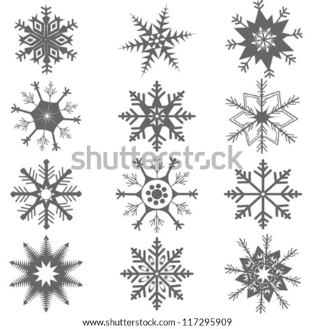 set of grey snowflakes over white background - stock vector