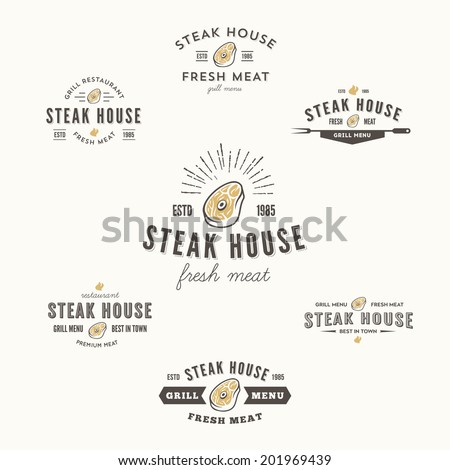 Set of grill steak labels, badges and design elements, looks similar to logo - stock vector
