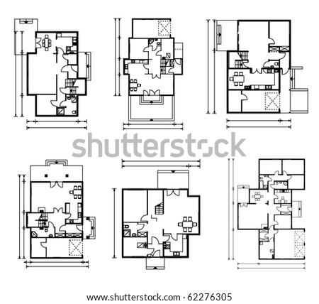 set of ground floor blueprints. vector illustration - stock vector