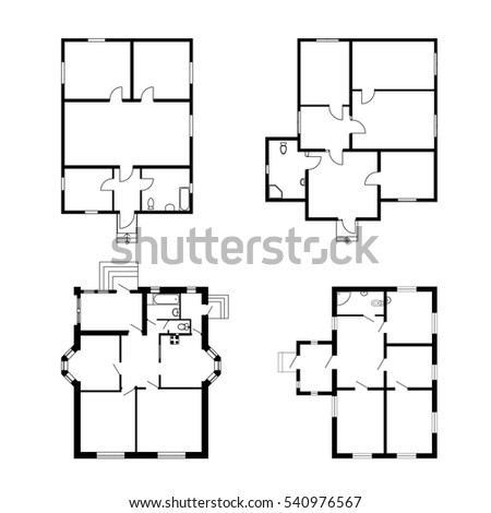 Set Ground Floor Blueprints Vector Unfurnished Stock
