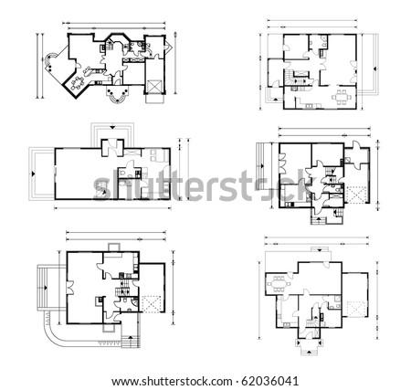 set of groundfloor blueprints. vector illustration - stock vector