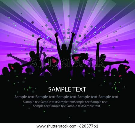 set of group peoples dance vector. flyer - stock vector